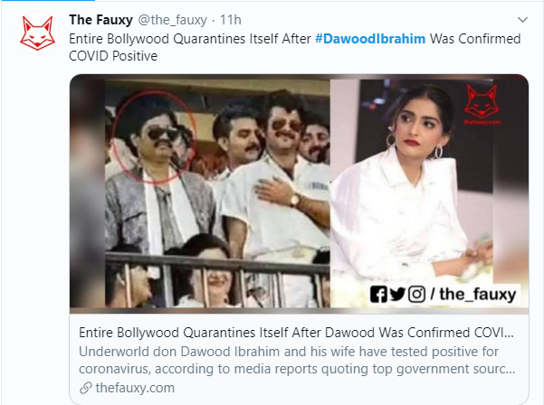 Fake News involving Dawood Ibrahim and Bollywood