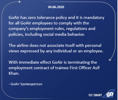 GoAir on Asif Khan's termination