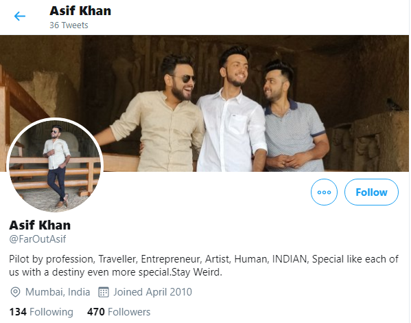 The original ID of Asif Khan on Twitter